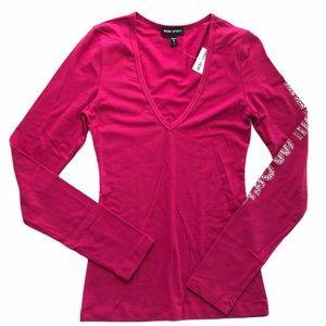 BEBE SPORT Pink Long Sleeve Crystal Logo Top Sz S